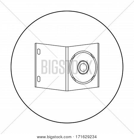 DVD with movie icon in outline style isolated on white background. Films and cinema symbol vector illustration.