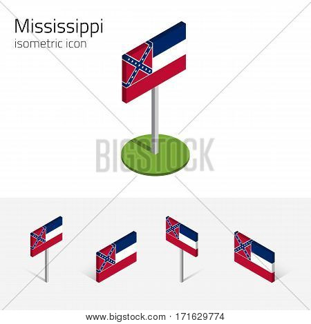 Flag of Mississippi (State of Mississippi, USA), vector set of isometric flat icons, 3D style, different views. Editable design element for banner, website, presentation, infographic, map