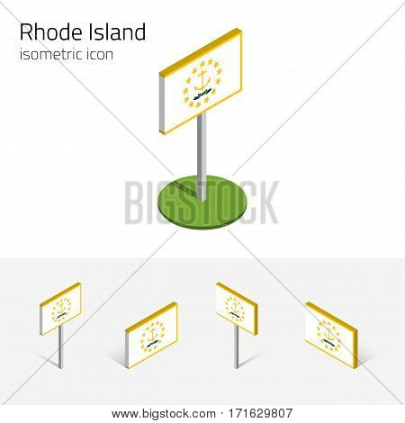 Flag of Rhode Island (State of Rhode Island and Providence Plantations, USA) vector set of isometric flat icons, 3D style. Editable design element for banner, presentation, infographic, map