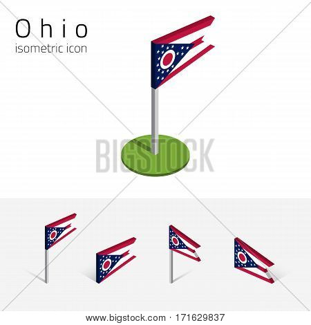 Flag of Ohio (State of Ohio, USA), vector set of isometric flat icons, 3D style, different views. Editable design element for banner, website, presentation, infographic, poster, map, collage.