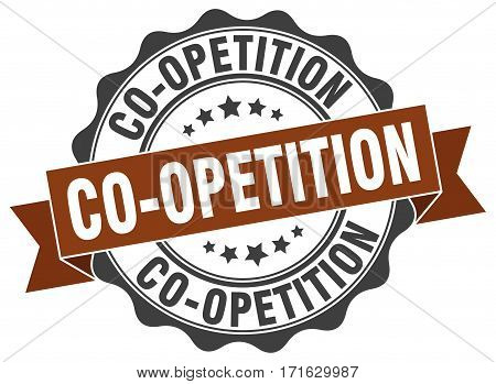 co-opetition. stamp. sign. seal. round. retro. ribbon