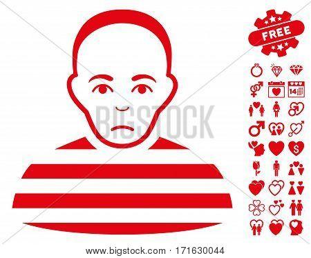 Prisoner pictograph with bonus decorative images. Vector illustration style is flat iconic red symbols on white background.