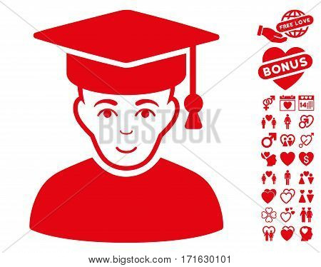Professor pictograph with bonus romantic icon set. Vector illustration style is flat iconic red symbols on white background.