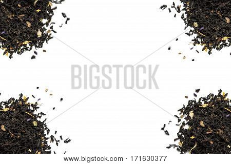 Four pile of tea leaves on a white background