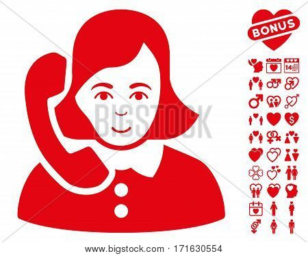 Receptionist pictograph with bonus dating pictograms. Vector illustration style is flat iconic red symbols on white background.