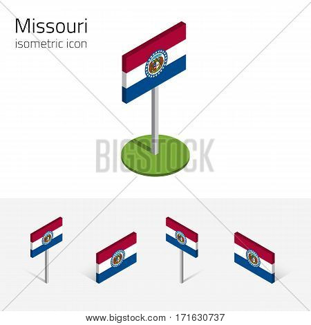 Flag of Missouri (State of Missouri, USA), vector set of isometric flat icons, 3D style, different views. Editable design element for banner, website, presentation, infographic, poster, map