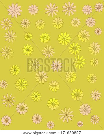 Decorative yellow ornamental seamless spring flower pattern.Tempate for design fabric backgrounds wrapping paper package covers
