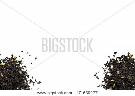 Two pile of tea leaves on a white background