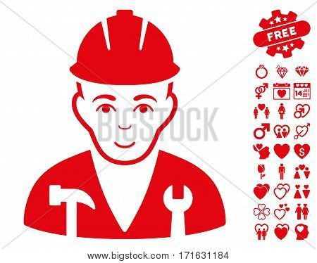 Serviceman pictograph with bonus amour graphic icons. Vector illustration style is flat iconic red symbols on white background.