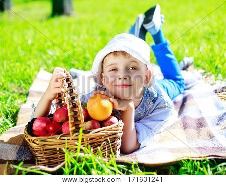 happy boy outdoor on a summer day with a basket full of red apples