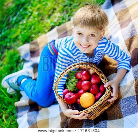 happy boy outdoor on a summer day with a basket full of fruit
