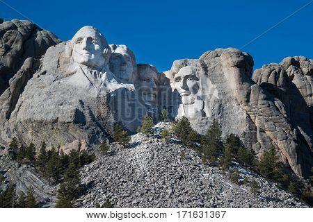 Mount Rushmore Memorial Monument in Black Hills of South Dakota