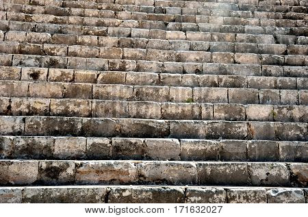 Ancient mayan stone staircase chichen Itza mexico