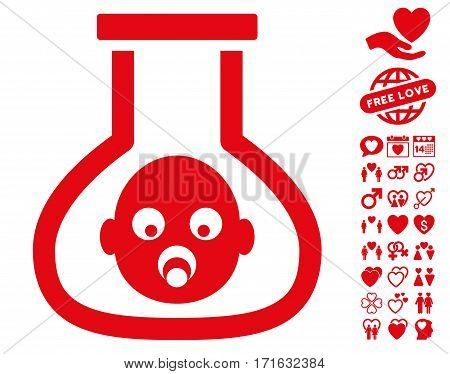 Test Tube Baby icon with bonus lovely pictograph collection. Vector illustration style is flat iconic red symbols on white background.