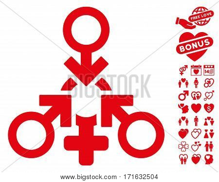Triple Penetration Sex icon with bonus dating design elements. Vector illustration style is flat iconic red symbols on white background.