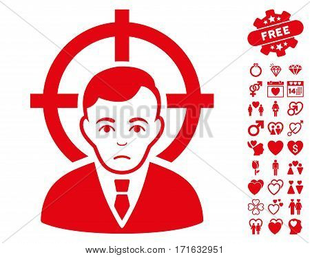 Victim Businessman icon with bonus love pictograms. Vector illustration style is flat iconic red symbols on white background.