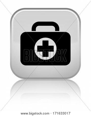 First Aid Kit Bag Icon Shiny White Square Button