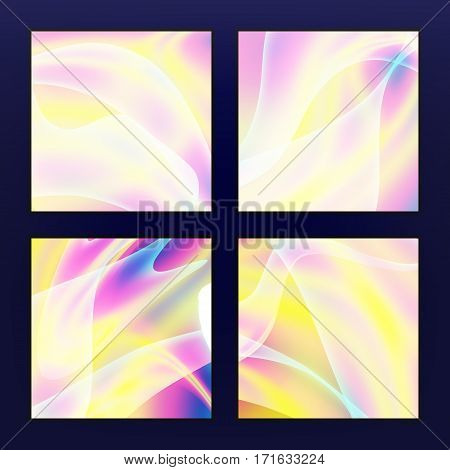 Fluid Iridescent Multicolored Vector Background. Pearlescent Texture. Element In Pastel Hues