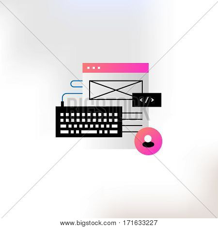 Vector illustration on the theme of programming and web design