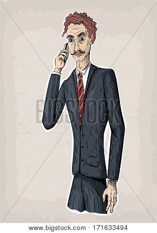 Men male person human people suit jacket shoes tie hold hand smartphone tell cellphone mobile phone go work business vector retro vintage close-up beautiful awesome creative vertical illustration sign