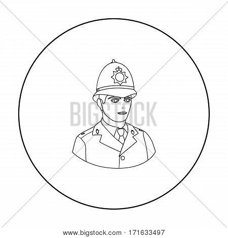 English policeman icon in outline style isolated on white background. England country symbol vector illustration.