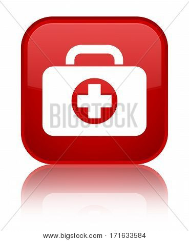 First Aid Kit Bag Icon Shiny Red Square Button