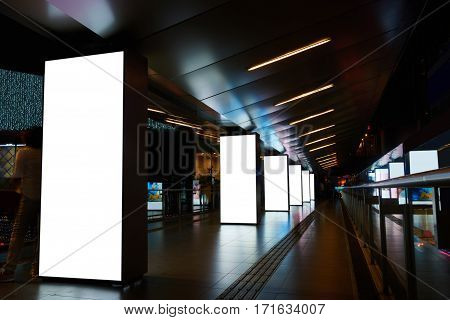 Digital billboards with clear copy space screen background for your text message or information content electronic banner in night city empty poster in metro setting blank advertising mock up