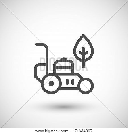 Lawn mower line icon isolated on grey. Vector illustration