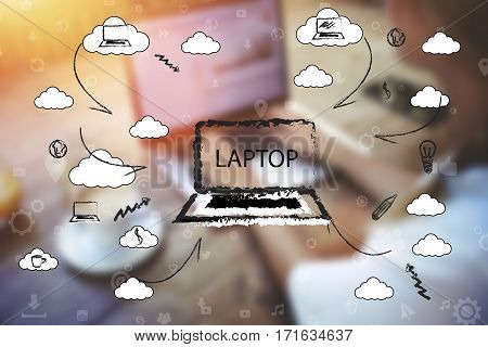 Female person working on laptop computer at co-working space. woman sitting in front open net-book. Blurred effect with infographics elements of multimedia supplies and applications settings