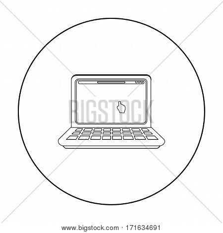 Online shopping icon in outline style isolated on white background. E-commerce symbol vector illustration.