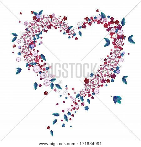 Colorful floral heart, invitation card template with hand drawn flowers and leaves. Vector illustration EPS10.
