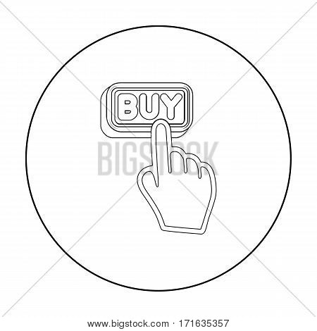 Buying click icon in outline style isolated on white background. E-commerce symbol vector illustration.