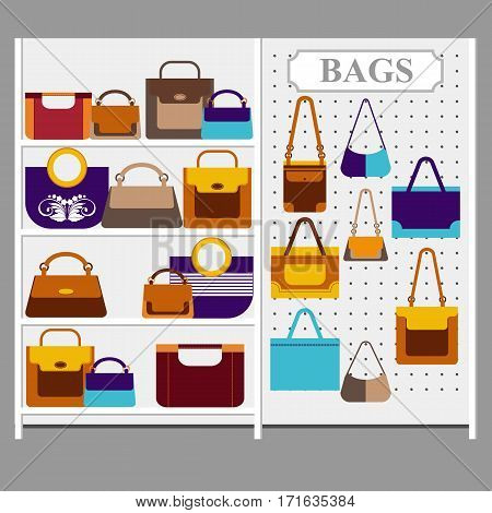 Colorful women handbags of various shapes placed on the trading shelf shop. Fashionable flat style. Vector illustration