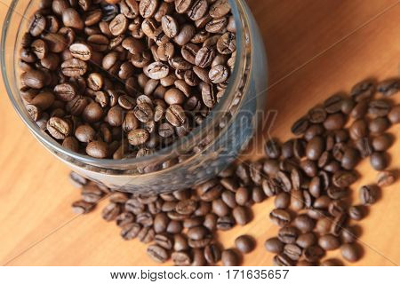 Coffee beans in studio shot close-up .