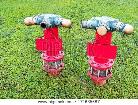 Nozzle for Firefighting On the wet lawn