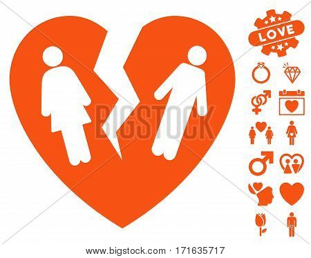 Broken Family Heart icon with bonus amour pictograms. Vector illustration style is flat iconic orange symbols on white background.
