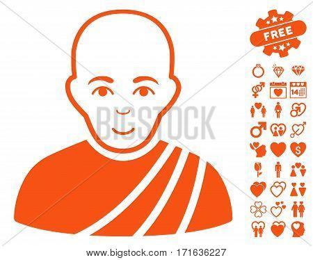 Buddhist Monk icon with bonus love pictograms. Vector illustration style is flat iconic orange symbols on white background.