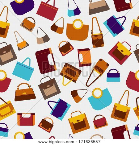 Vector fashion women handbags seamless pattern. Use as fabrics background wrapping paper.