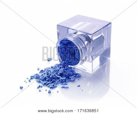 Jar Of Blue Powder Eyeshadow For Makeup As Sample Of Cosmetic Product