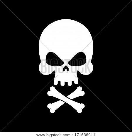 Pirate flag skull. Black Banner filibuster. Head skeleton pirates banner poster