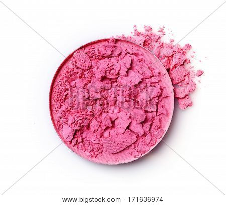 Round Pink Crashed Blusher For Makeup As Sample Of Cosmetic Product