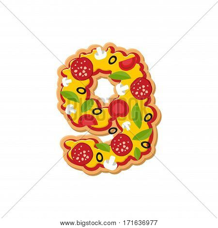 Number 9 Pizza Font. Italian Meal Alphabet Numeral Nine. Lettring Fast Food