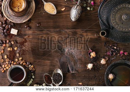 Assortment Of Tea And Coffee As Background
