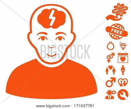 Clever Boy pictograph with bonus decorative pictures. Vector illustration style is flat iconic orange symbols on white background.