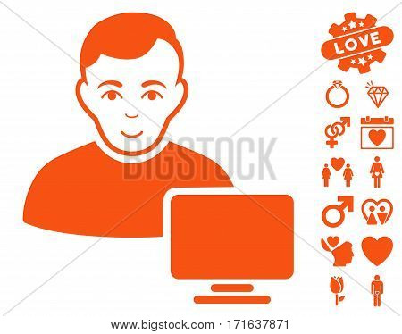 Computer Administrator pictograph with bonus valentine images. Vector illustration style is flat iconic orange symbols on white background.