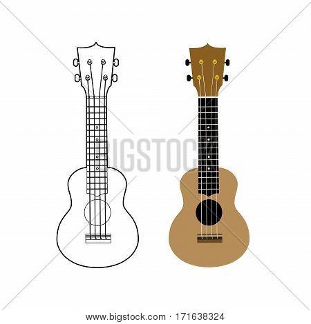 Ukulele - Hawaiian musical instrument. Vector illustration on white background