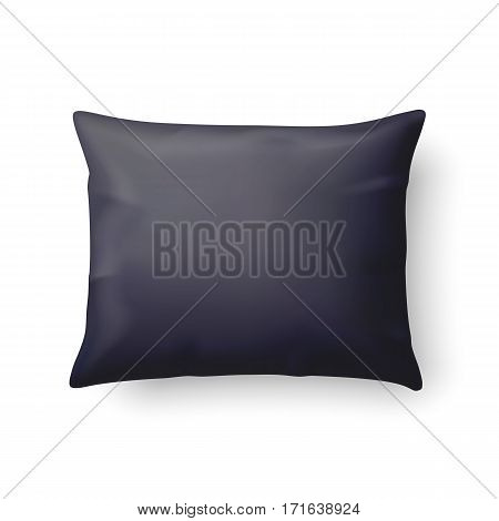 Close Up of a Classic Black Pillow Isolated on White Background