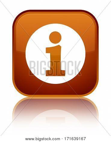 Info Icon Shiny Brown Square Button