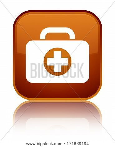 First Aid Kit Bag Icon Shiny Brown Square Button