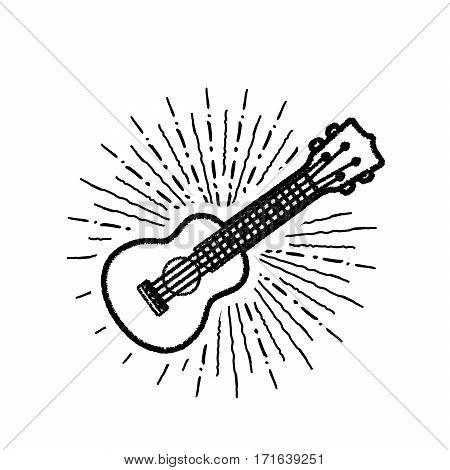Ukulele - Hawaiian musical instrument. Vector illustration on white background.